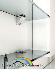 2 x cromato lucido Designer vetro Mensola Supporto Pinza STAFFE accoppiamenti 5mm a 10mm