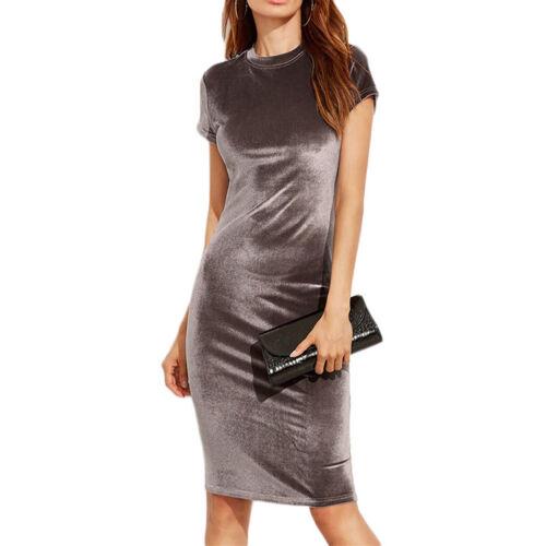 Women Elegant Velvet Bandage Short Sleeve Pencil Skirt Party OL Dresses TP