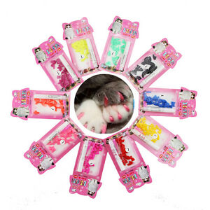 New 20pcs Soft Cat Pet Nail Caps Claw Control Paws off + Adhesive Glue Size XS-L
