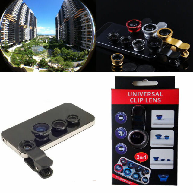3in1 180° Fish eyeWide Angle Macro Camera Photo Zoom Len clip for Huawei phones
