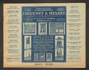PARIS-XV-USINE-de-MONTE-CHARGE-VOLETS-034-JAQUEMET-amp-MESNET-034-Catalogue-en-1929