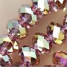 6X4 mm, violet Multicolore , cristal naturel, facetté, perles lâches, 98pcs