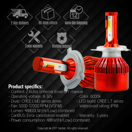 Xentec CSP H4 HB2 9003 1050W 157500LM LED Headlight Kit Hi//Lo Power Bulb 6500K