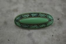 ANTIQUE VINTAGE Edwardian green pressed glass brooch micro mosaic style