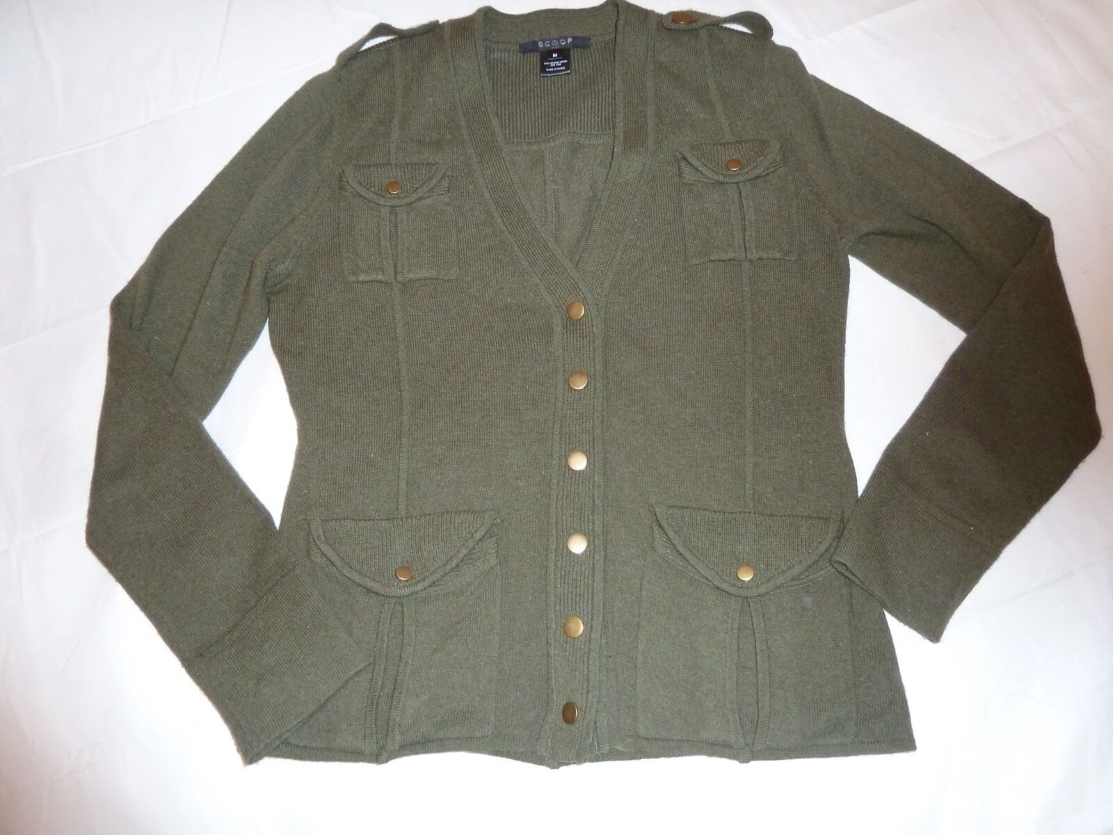 c0c5d06af0d NYC MILITARY GREEN MERINO WOOL YAK CARDIGAN SWEATER SZ. M SCOOP ...