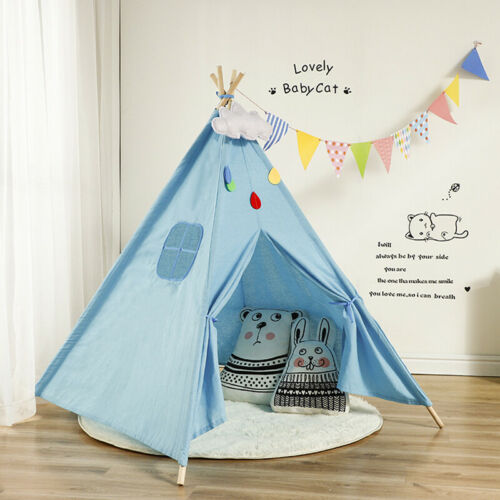 Large Canvas Kids Teepee White Tent Childs Wigwam Indoor Outdoor Play House Gift