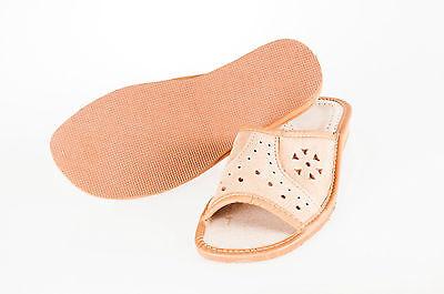 Mujer señoras de cuero 100% Natural Zapatillas Mulas Sandalias Flip-Flop Marrón