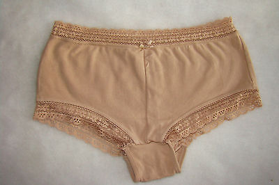 New Inner Self Tan Natural Nude Cotton Spandex Lace Boyshort Hipster Panty M