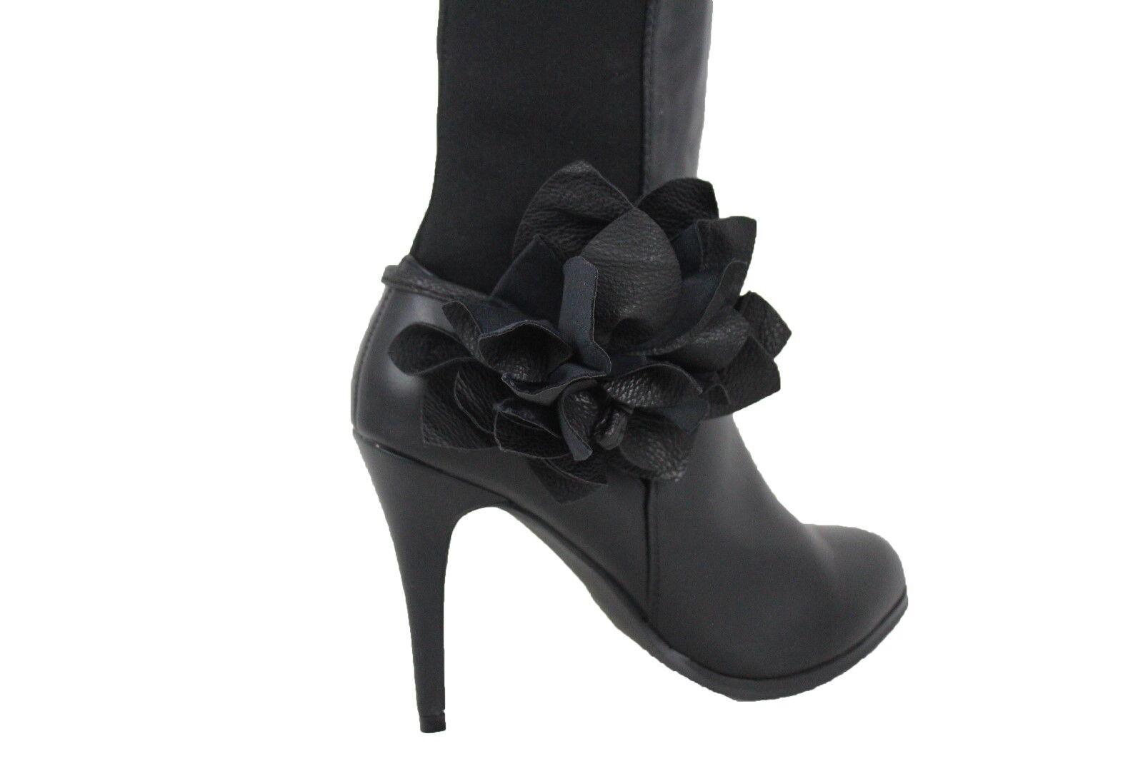 Women Boot Bracelet Black Faux Leather Shoe Flower Rose Charm Tie Wrap Fabric