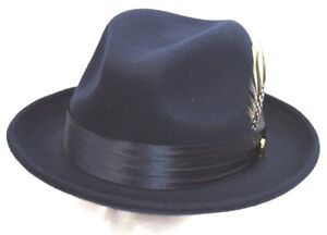 Men/'s Fedora Dress Hat Navy Blue UN-102 100/% Australian Wool S L XL M