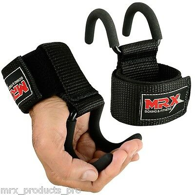 Weight Lifting Metal Hook Gym Training MRX Power Bar Straps Wrist Grips Support