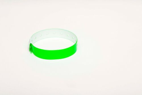 50 Plain Neon Green L Shaped Plastic Vinyl Wristbands Event Parties Festivals