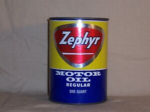 Vintage Zephyr Motor Oil Can Bank Gas /& Oil Service Station Sign Muskegon Mich