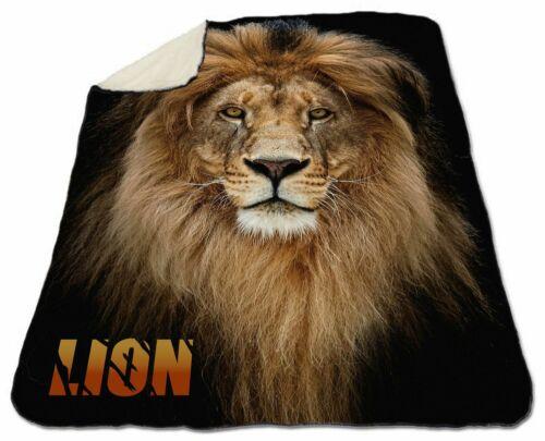 "Lion Winter Blanket 60/"" x 80/"" Queen Size NEW Fleece Warm Soft Christmas Wildlife"