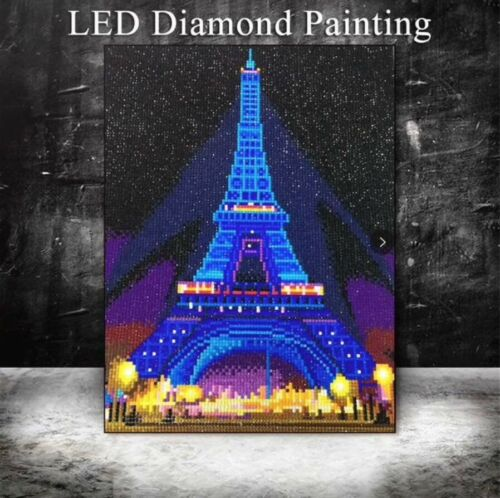 DIY LED 5D Diamond Painting KitPartial Round Eiffle Tower Paris Craft 30x40cm