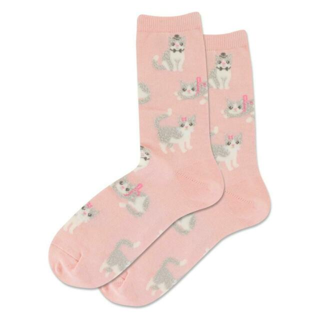 Fuzzy Cat Hot Sox Women/'s Crew Socks Blush New Novelty Furry Meow Fashion