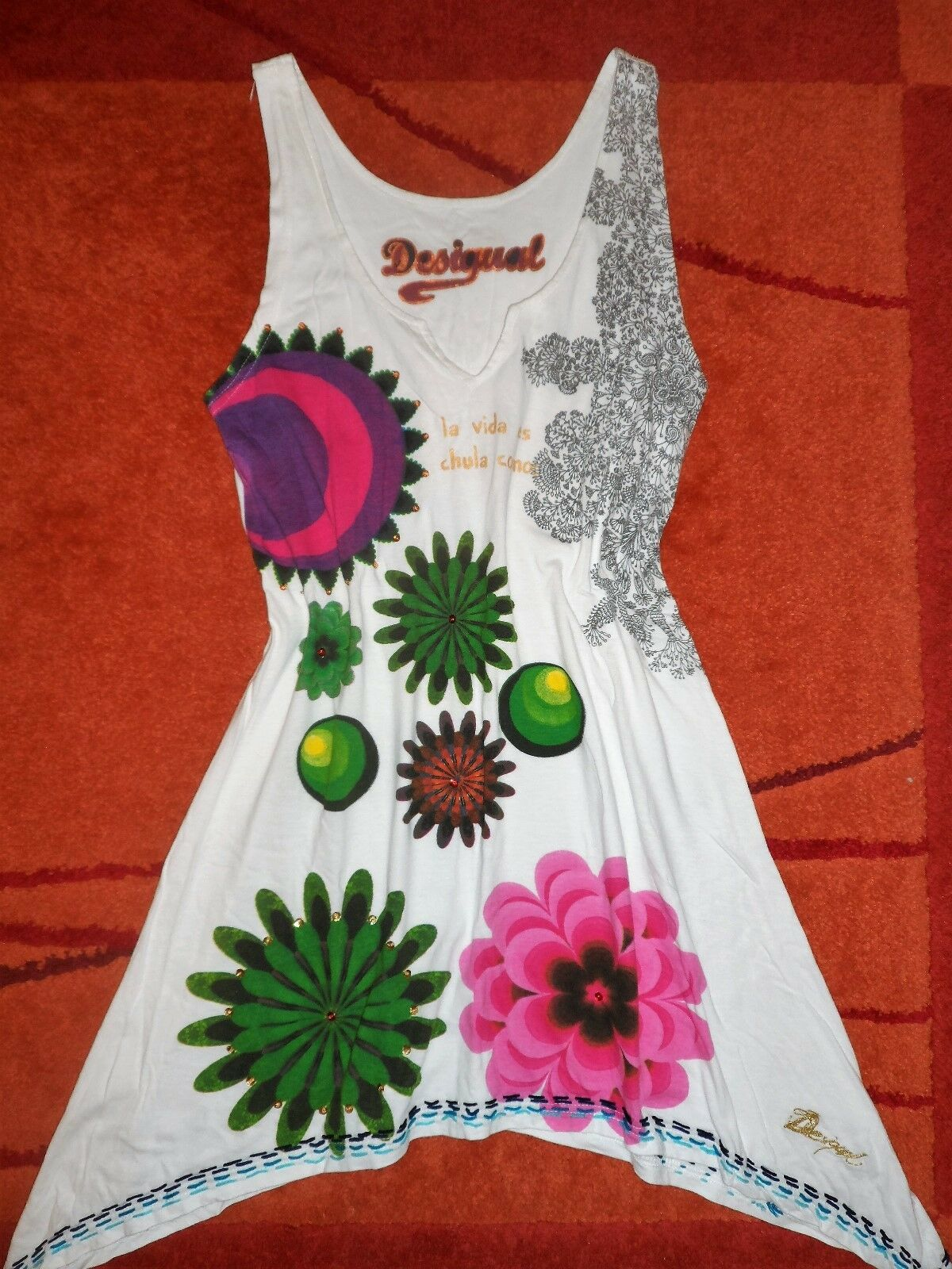 Bellissimo vestito. Tunica. DESIGUAL. femminile. Hippie.gr.38-40-42 l