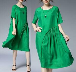 2019-Women-100-Silk-Ruched-Oversize-Dress-Fashion-Loose-Blouse-Tops-Casual-Maxi