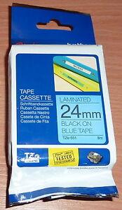 original   Schriftband 24mm SCHWARZ-BLAU für BROTHER P-Touch TZ-551