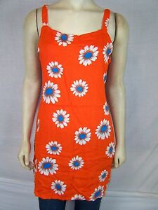 Bali-Girl-Orange-Blue-White-Beach-Cover-Tunic-Top-Dress-Women-039-s-Sz-Medium-Large