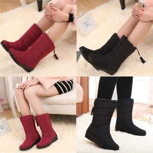 New-Womens-Winter-Snow-Mid-Calf-Boots-Fur-Lining-waterproof-Platform-Shoes