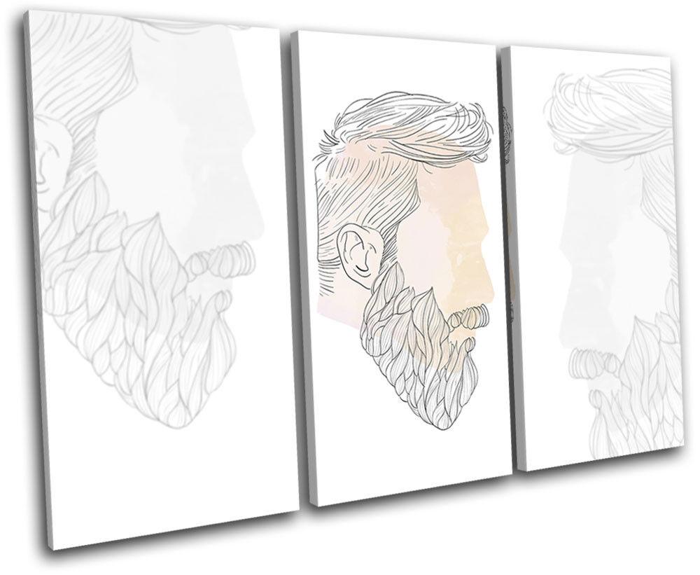 Barber Grooming Beard Beard Beard Hipster Vintage TREBLE TOILE murale ART Photo Print 4d7687