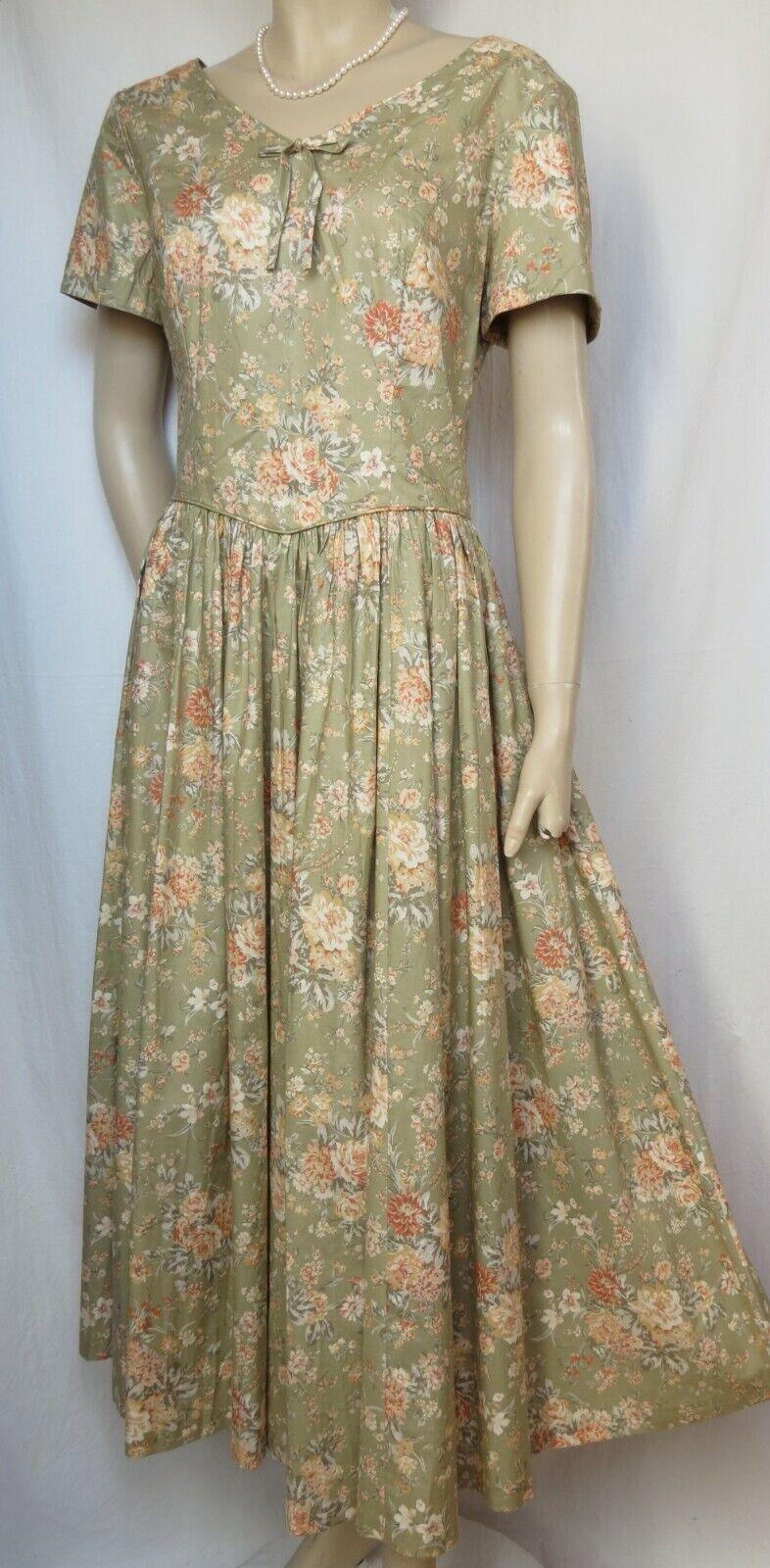 Laura Ashley Ashley Ashley Sommerkleid 40 42 Blaumen grün Orange vintage Hochzeit Baumwolle 33f618