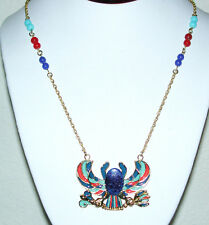 EGYPTIAN REVIVAL STYLE NECKLACE RED BLUE TURQUOISE BEADED CHAIN VINTAGE SPHINX