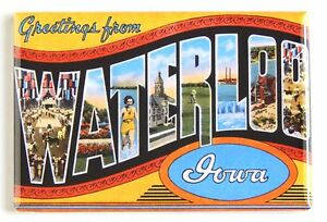 Greetings-from-Waterloo-FRIDGE-MAGNET-2-x-3-inches-iowa-state-travel-souvenir