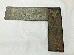 7-034-Wood-Brass-Square-Carpentry-Woodworking-Tool-Made-in-USA-Vintage-Collectible
