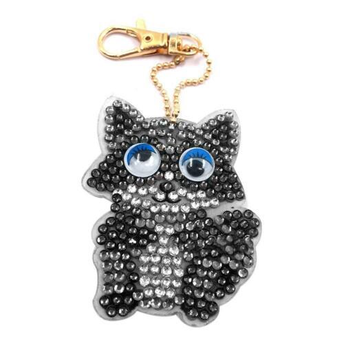 1-10Pcs DIY 5D Diamond Painting Christmas Keychain Keyring Pendant Xmas Gifts