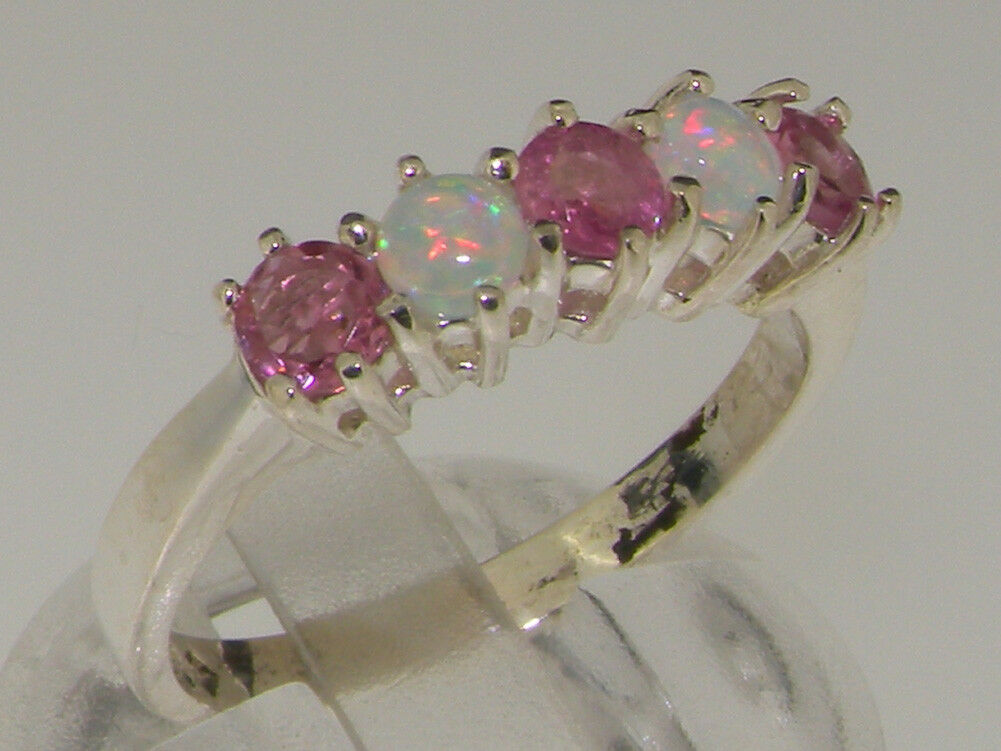 10ct White gold Natural Pink Tourmaline & Opal Womens Eternity Ring