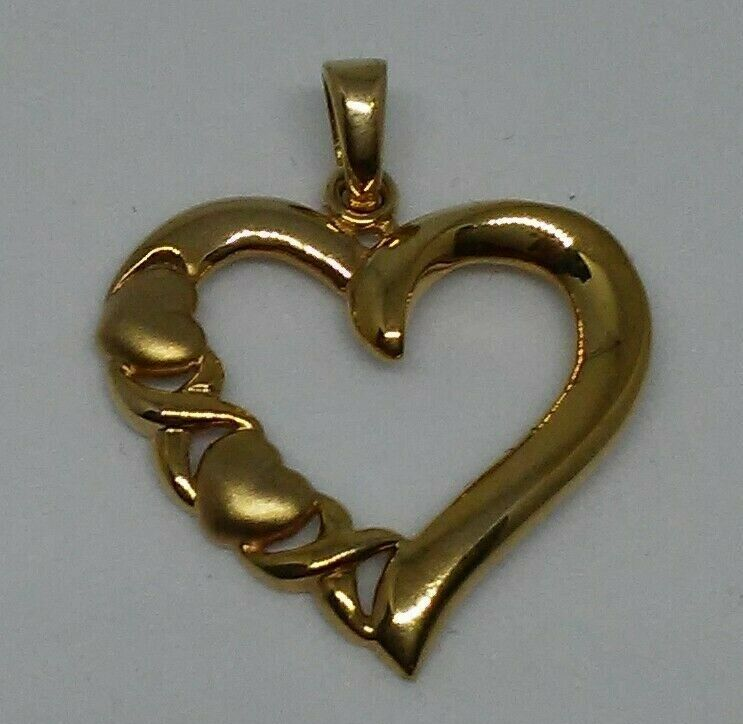 10K Real Solid Yellow gold XO High Polished Satin Open Heart 1  Pendant 1.4 g.