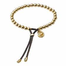 MICHAEL KORS MKJ1143 Gold Tone Bead Brown Leather Stretch Slider Bracelet BNWT