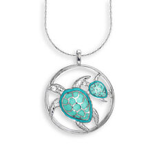 Nicole Barr Vitreous Enamel on Sterling Silver Mother and Baby Turtle Necklace