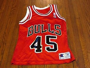 f638da3d65b Men s VTG 94-95 Champion NBA Chicago Bulls Michael Jordan 45 Away ...