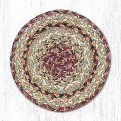 """Set of 2 Braided Jute Round Placemats Trivet Tan Burgundy Earth Rugs 10/"""" 10 inch"""