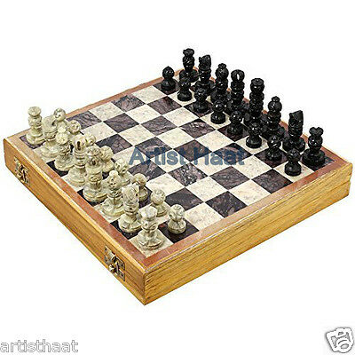 Artist Haat Handmade Stone Chess Pieces with Wooden Chess Box