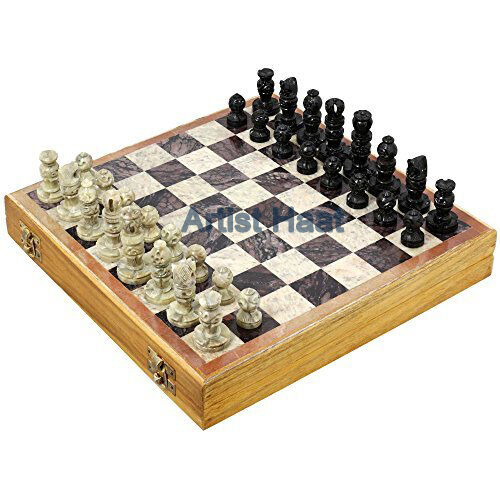 "Artist Haat Handmade Natural Soapstone 8"" Chess Set with Chess Pieces"