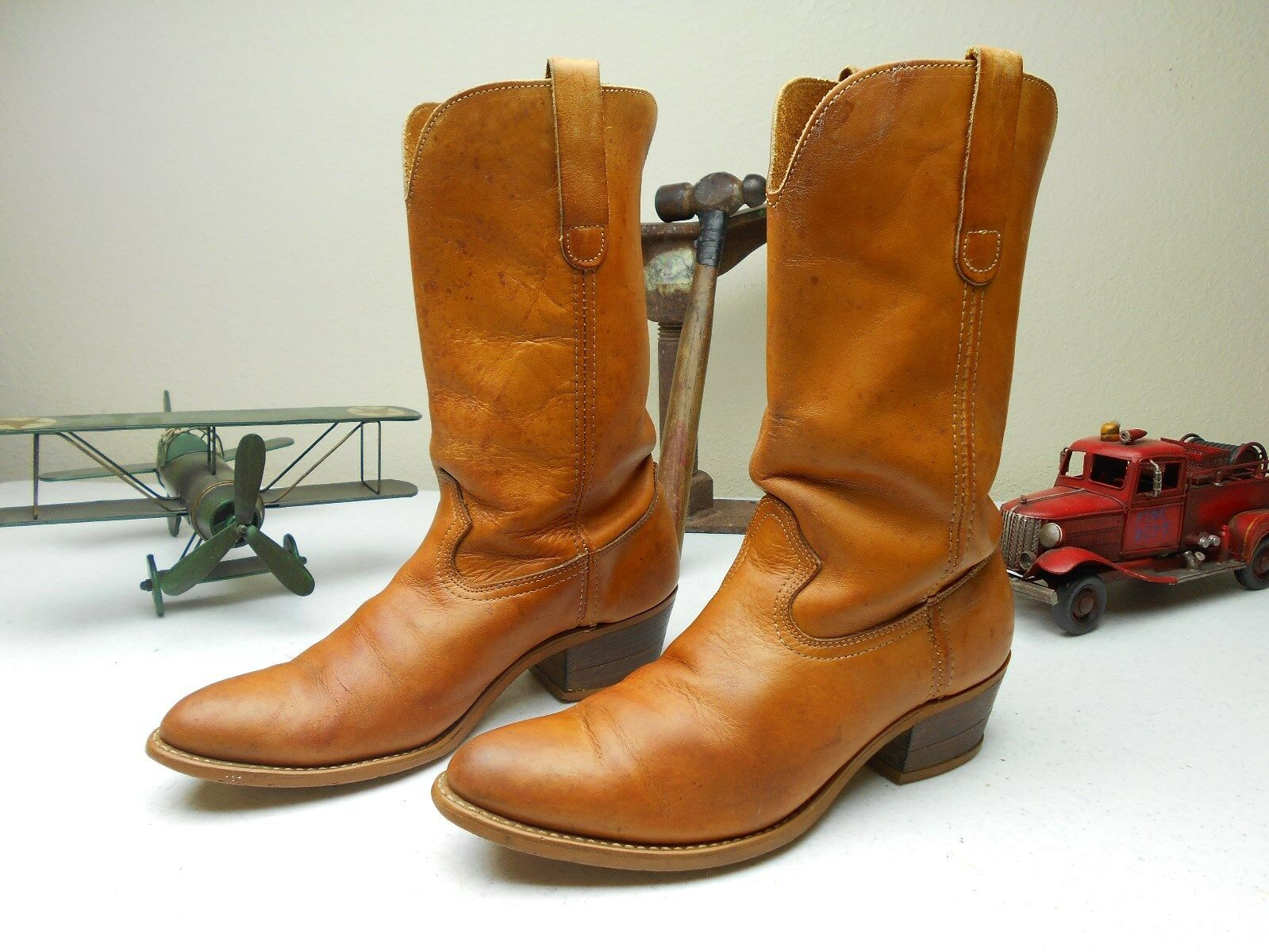 VINTAGE BROWN  A COWBOY WESTERN COUNTRY ROCKABILLY LEATHER BOOTS SIZE 10 D