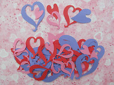 50 Heart Cut-outs in a Variety of Shapes, Sizes and Colours of Cardstock - Love