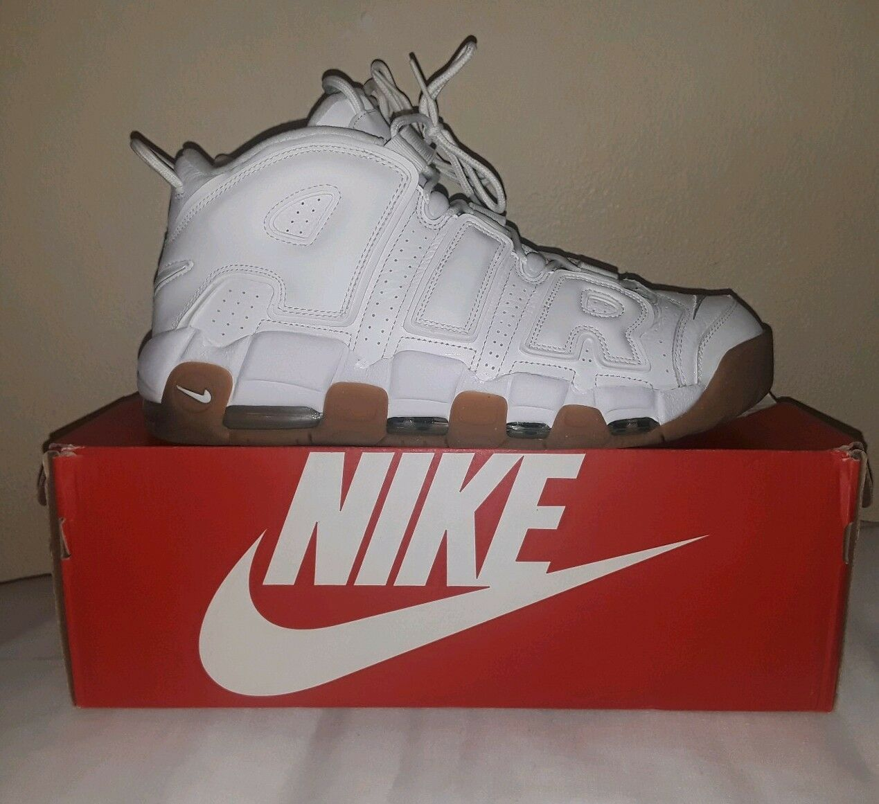 Men Nike Air More Uptempo White Gum Light Brown Size 13