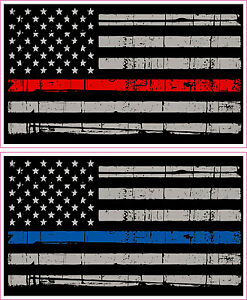"1-3/"" Thin Blue Red Line American Subdued Flag Decal US Police Fire Sticker R"