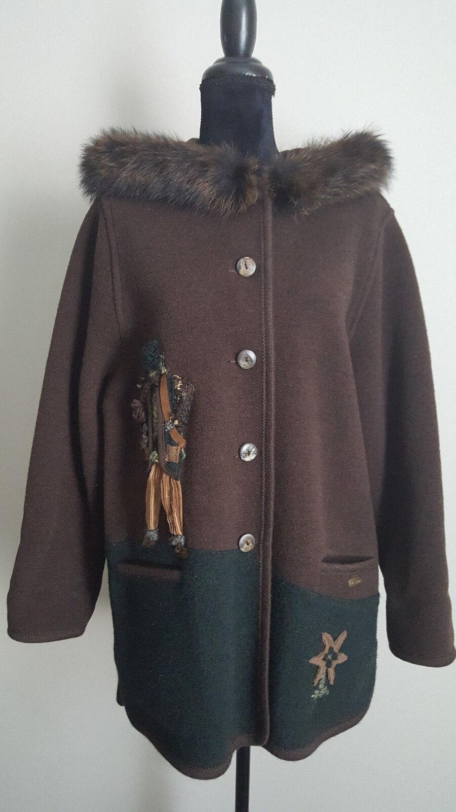 Giesswein Womens Coat 100% Pure Wool Real Fur Size 8