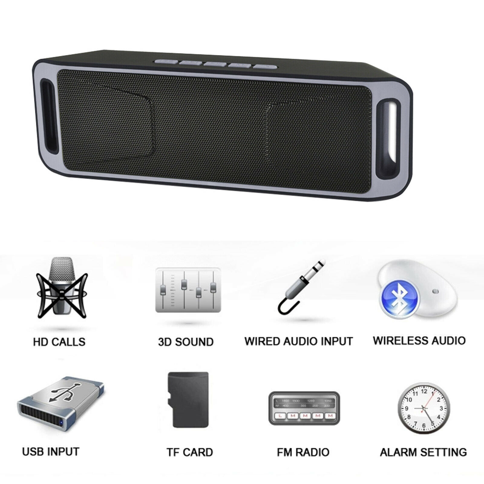 s l1600 - Nuevo Portátil Bluetooth Altavoz USB Flash FM Radio Estéreo Reproductor Soundbox