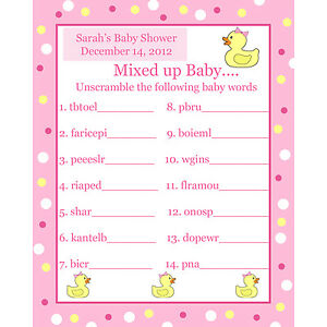 Wonderful Image Is Loading 24 Personalized Word Scramble Baby Shower Game Cards