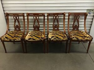 Set-Of-4-1920-039-s-Carved-Mahogany-Swan-Dining-Chairs-Scalamandre-Le-Tigre-Fabric