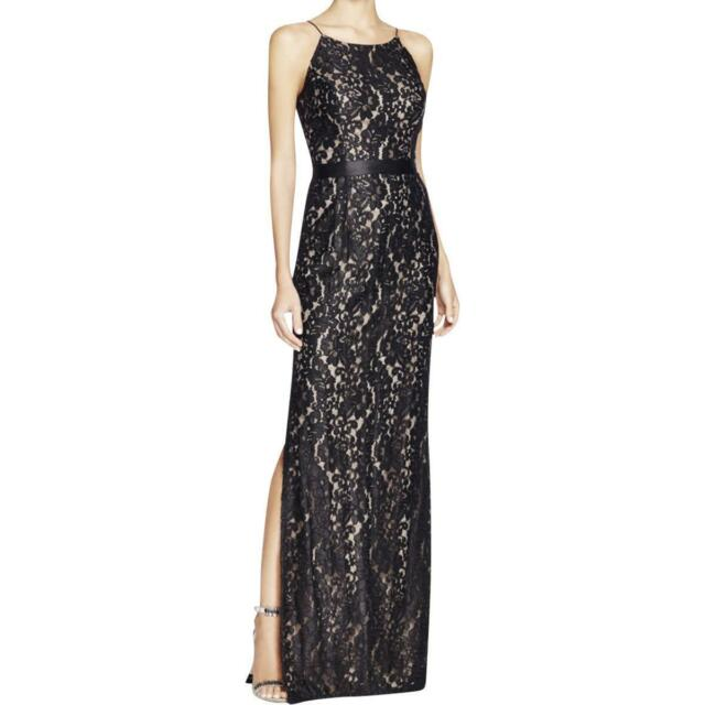Aidan Mattox Black Lace Overlay Banded Waist Side Slit Formal Gown