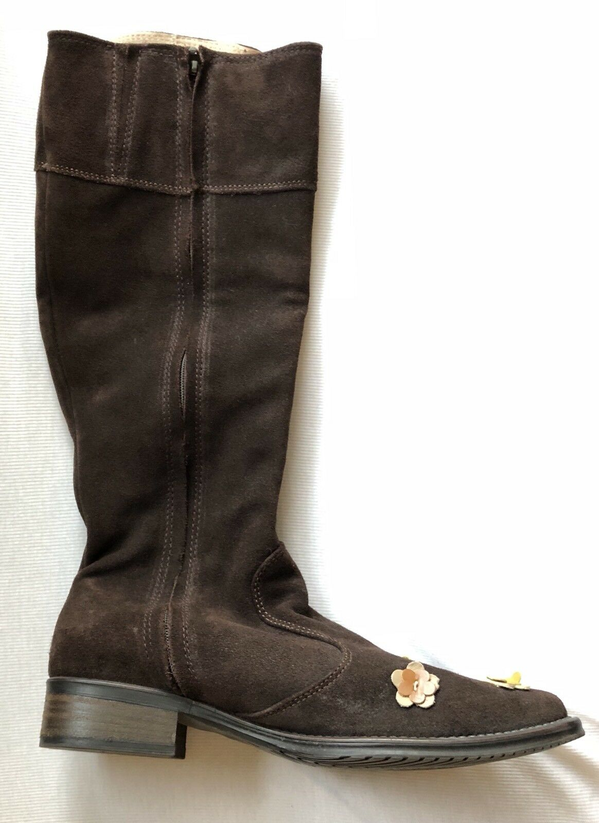 Pratesi Suede Italian Leather Floral Floral Floral Applique Tall Boots Size 37 7 568644