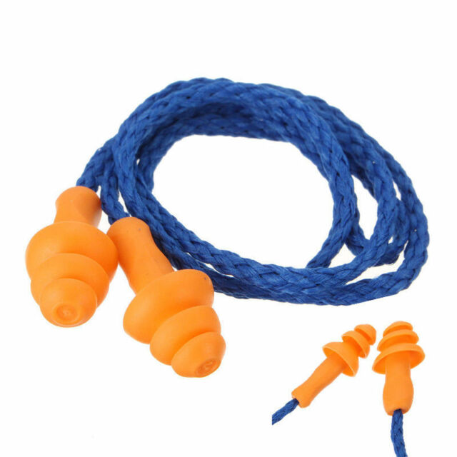 10X Soft Silicone Corded Ear Plugs Reusable Hearing Protection Earplugs 2017 NSN